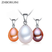 ZHBORUINI Big Sale Pearl Necklace 9-10mm Drop Shape Natural Freshwater Pearl Pendant 925 Sterling Silver Jewelry For Women Gift(China)
