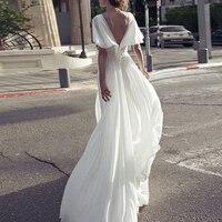 Белое длинное платье в пол 2019 Высокое качество сексуальное v образный вырез летние пляжные платья женские с коротким рукавом шифоновое плат