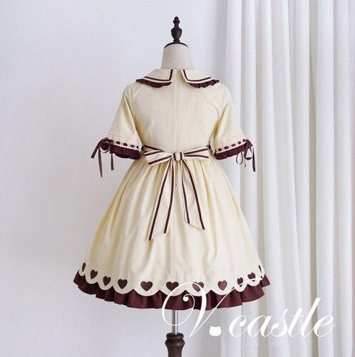 2477fb29e96e Caramel Pudding Women s Cute Beige Lolita Dress Short Sleeve Heart Buttons Summer  One Piece Color Beige-in Dresses from Women s Clothing on Aliexpress.com ...
