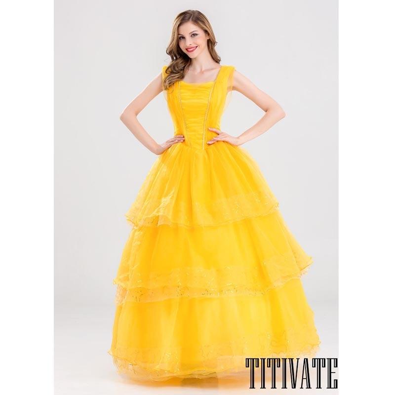 TITIVATE Felnőttek Nők szépség és a szörny Belle Princess ruha ... 77d0da2e14