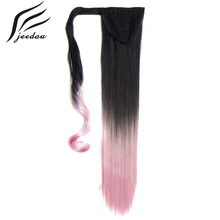 jeedou Straight Synthetic Hair Ponytails 22″ 55cm 90g Red Pink Mix Ombre Color Wrap Around Ponytail Hair Extension