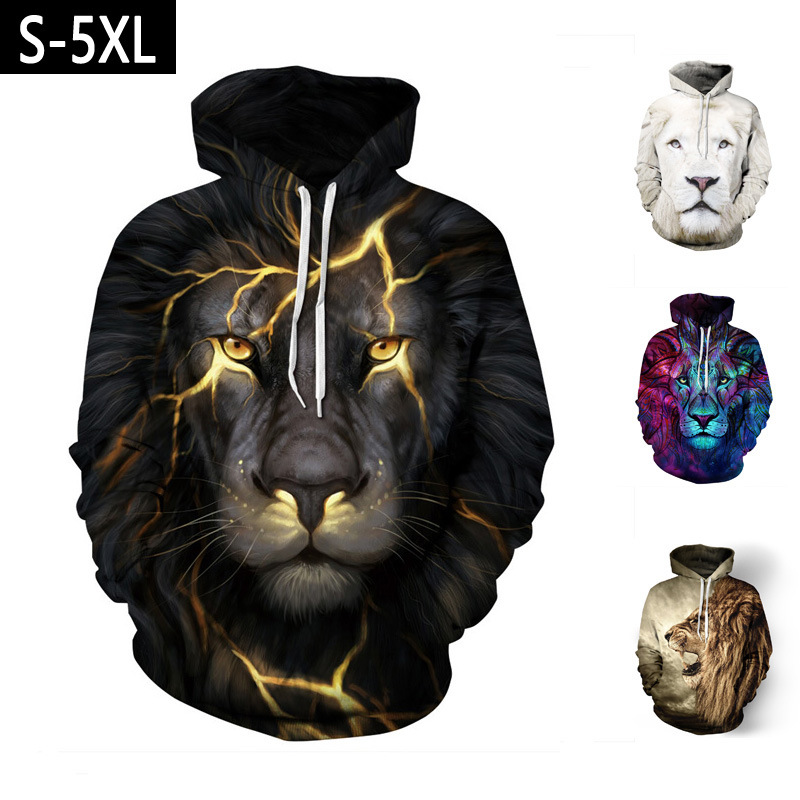 Couple women and men's unisex Anime 3D Lion Printed Hoodies sweatshirts Streetwear Pullover hoody JQ-2633