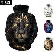 Couple women and mens unisex Anime 3D Lion Printed Hoodies sweatshirts Streetwear Pullover hoody JQ-2633