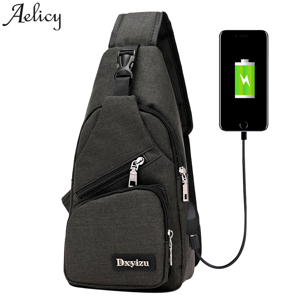 Aelicy Unisex Usb Canvas Chest Bags Boston Bag Fashion Mens Polyester Sling Bag Chest Pack girls Crossbody Bag with USBAelicy Unisex Usb Canvas Chest Bags Boston Bag Fashion Mens Polyester Sling Bag Chest Pack girls Crossbody Bag with USB