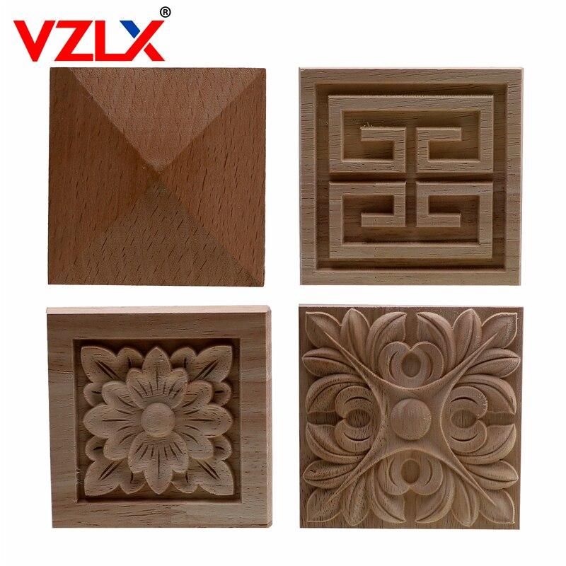 VZLX Square Wood Applique Carved Decal Corner Onlay Unpainted Furniture For Vintage Home Decor Door Cabinet Decoration Maison