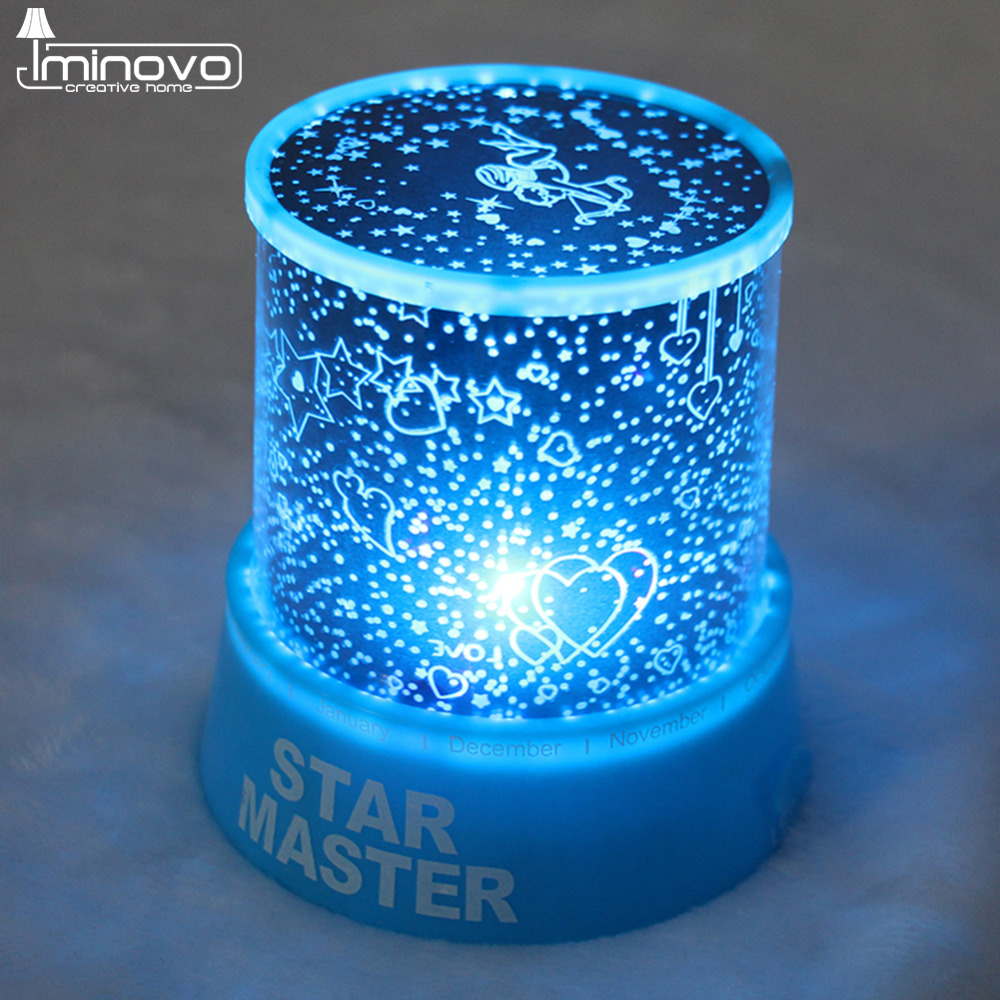 IMINOVO Night Light Music Player Starry Sky LED Mini Star Projector Lamps Battery Powered For Lovers/Children Creative Gift