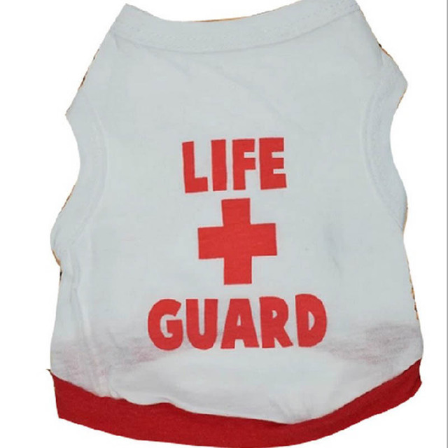 100% Cotton Puppy Dog Vest LIFE GUARD Sleeveless Top Clothes Outdoor Home Leisure T-shirt Coat Clothing For Small Dogs 5