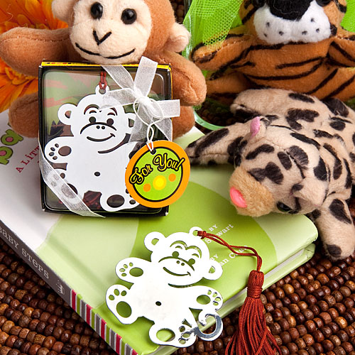 (DHL,UPS,Fedex)FREE SHIPPING+50pcs/Lot+Jungle Critters Collection Monkey Book Marks Birthday Party Souvenir Baby Baptism Favors