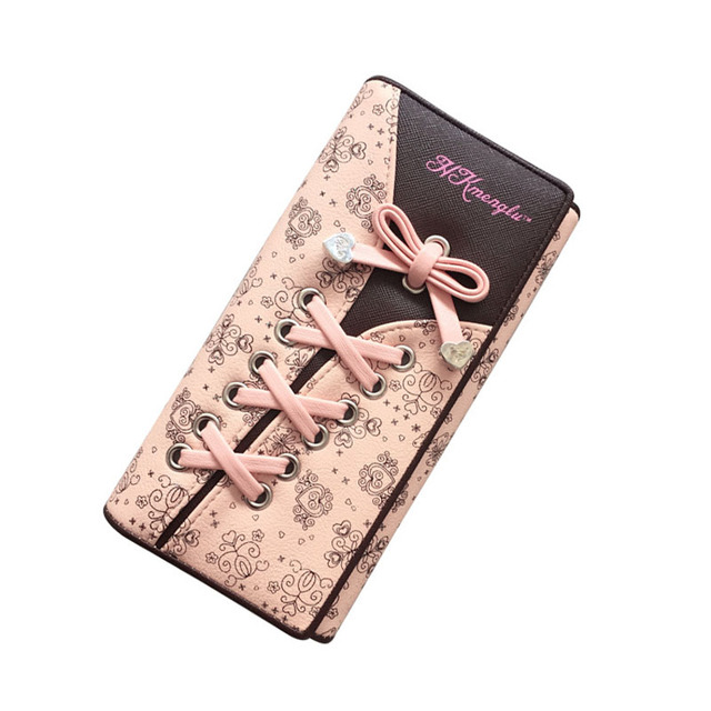 Cute Day Clutch Women Pink Bow Purse Girls Three Fold Clip Flower Printing Hand Bag PU Leather Wallet Sweet Sexy Wallet XA522H