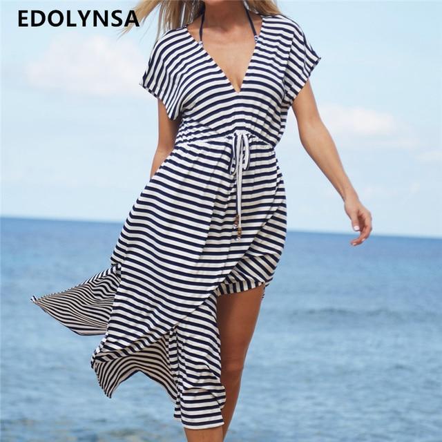 e75e7de25ec35 Striped Swimsuit cover up Beach Tunic Sarong Robe de Plage Beachwear  kaftans long Beach Dress Womens Swim Wear #Q486