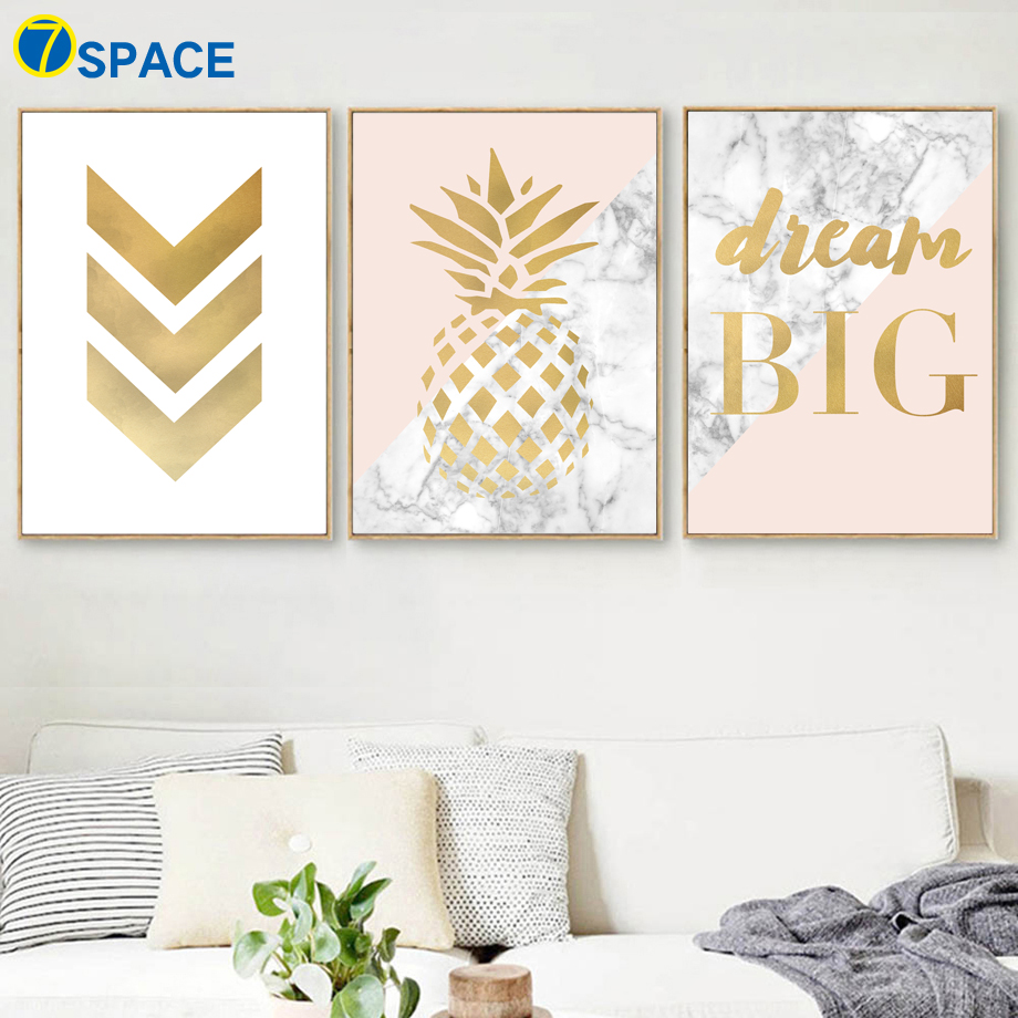 Geometric Pineapple Marble Quotes Wall Art Canvas Painting