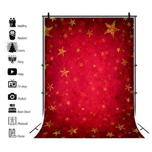 Image 3 - Laeacco Photography Backdrops Gold Star Red Gradient Solid Color Wall Party Pattern Baby Photo Background Photocall Photo Studio