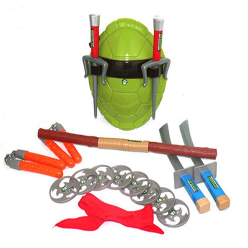 Ninja Tortoise COS Dressed Weapon Suit Turtle Shell Eye Mask Cosplay Set Child Ninja Turtle Model Toy