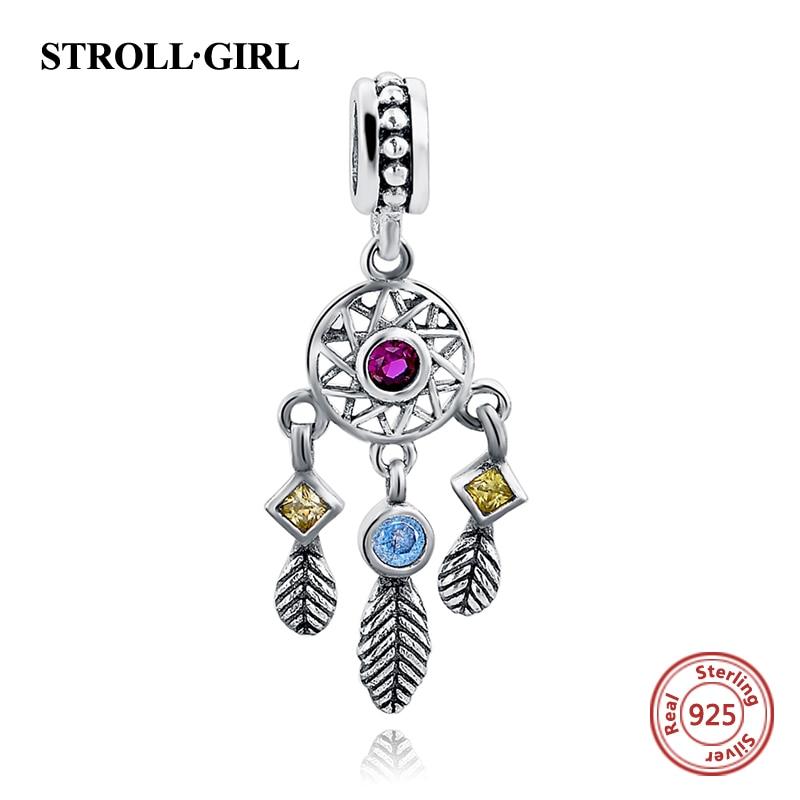 925 Sterling Silver Privjesak Dream Catcher Charm prikladan Europska narukvica srebrna original Žene Charm Nakit za žene pribor