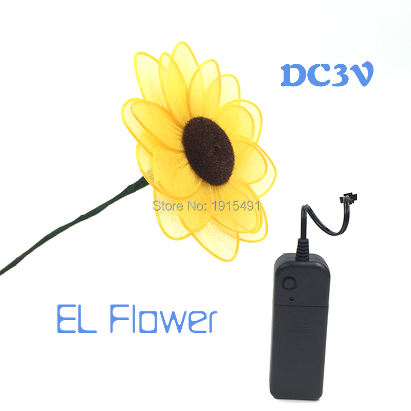 Top Selling Led Strip Neon Twinkling Sunflower Happy Wedding Theme Indoor Decor EL Light Up Attractive Colorful Flower for Room