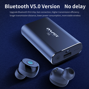 Image 5 - AWEI TWS prawdziwe bezprzewodowe wkładki douszne Bluetooth 5.0 1800mAh Power bank Mini 3D słuchawki Bluetooth słuchawki z podwójnym mikrofon do telefonu