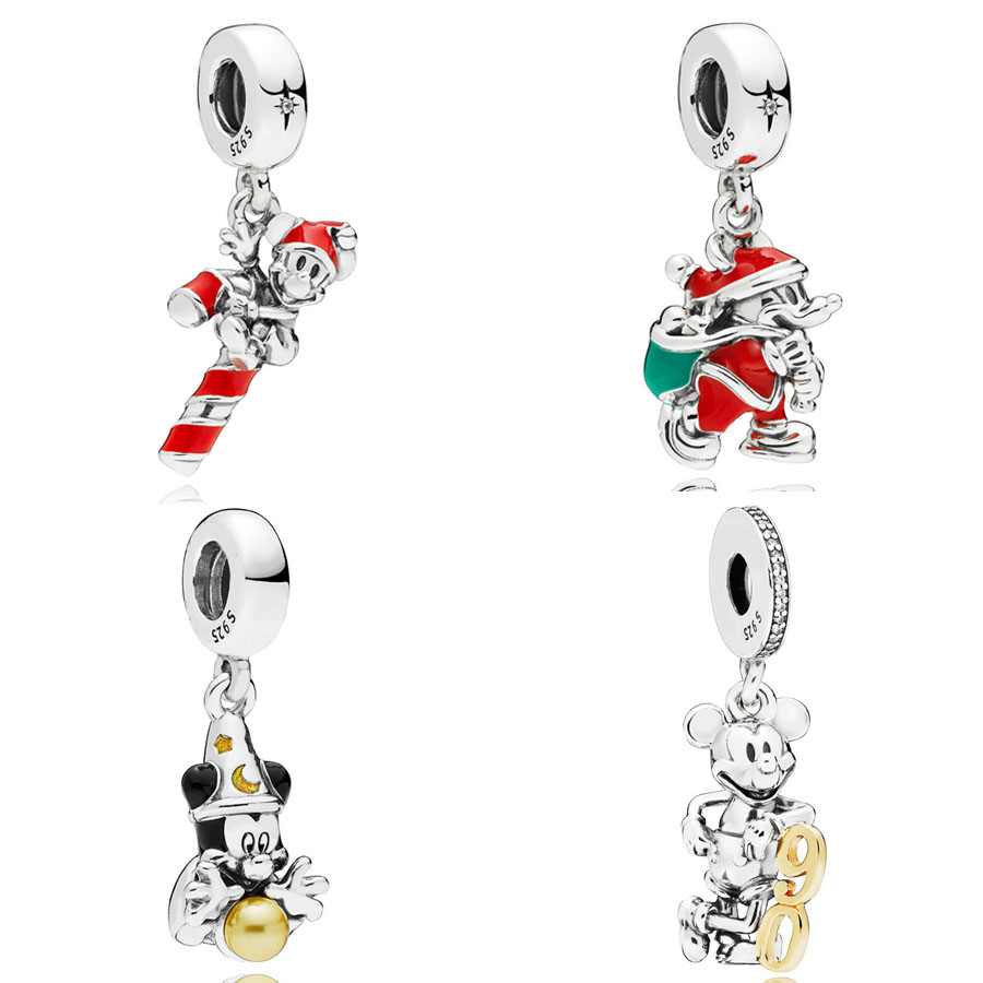 Santa Mickey & Gift Bag Candy Cane 90th Anniversary Sorcerer Pendant Charm Fit Pandora Bracelet 925 Sterling Silver Bead Jewelry