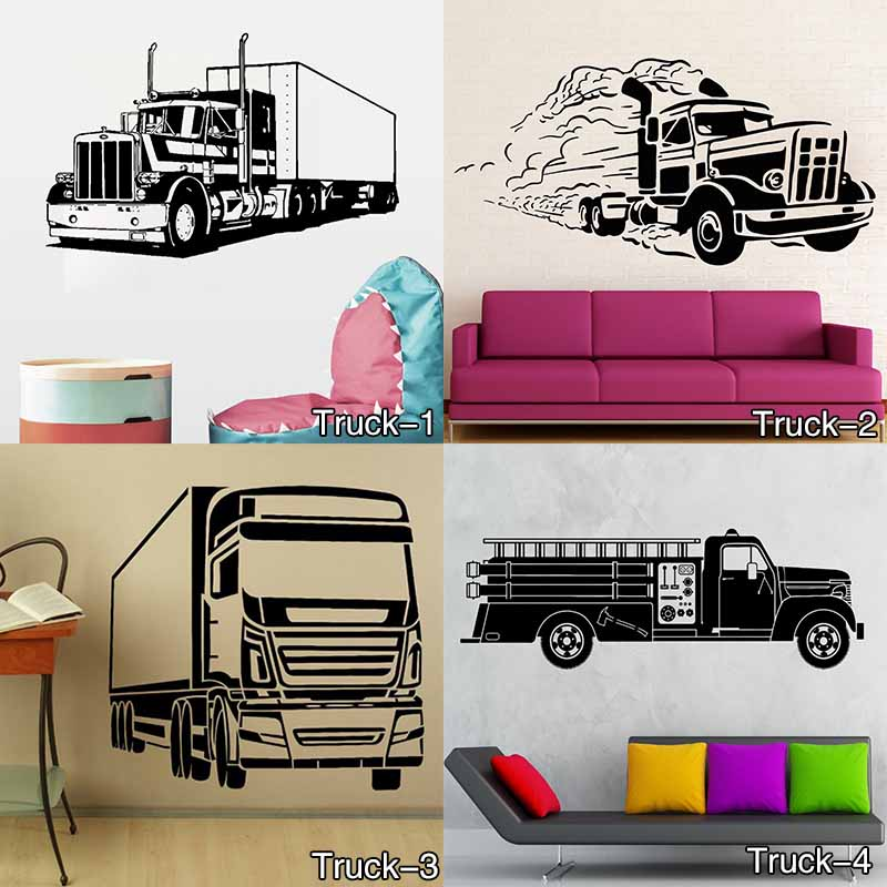 CP84 Monster Truck Personalised Any Name Kids Bedroom Wall Sticker Children Vinyl Decal decor sticker Free Shipping