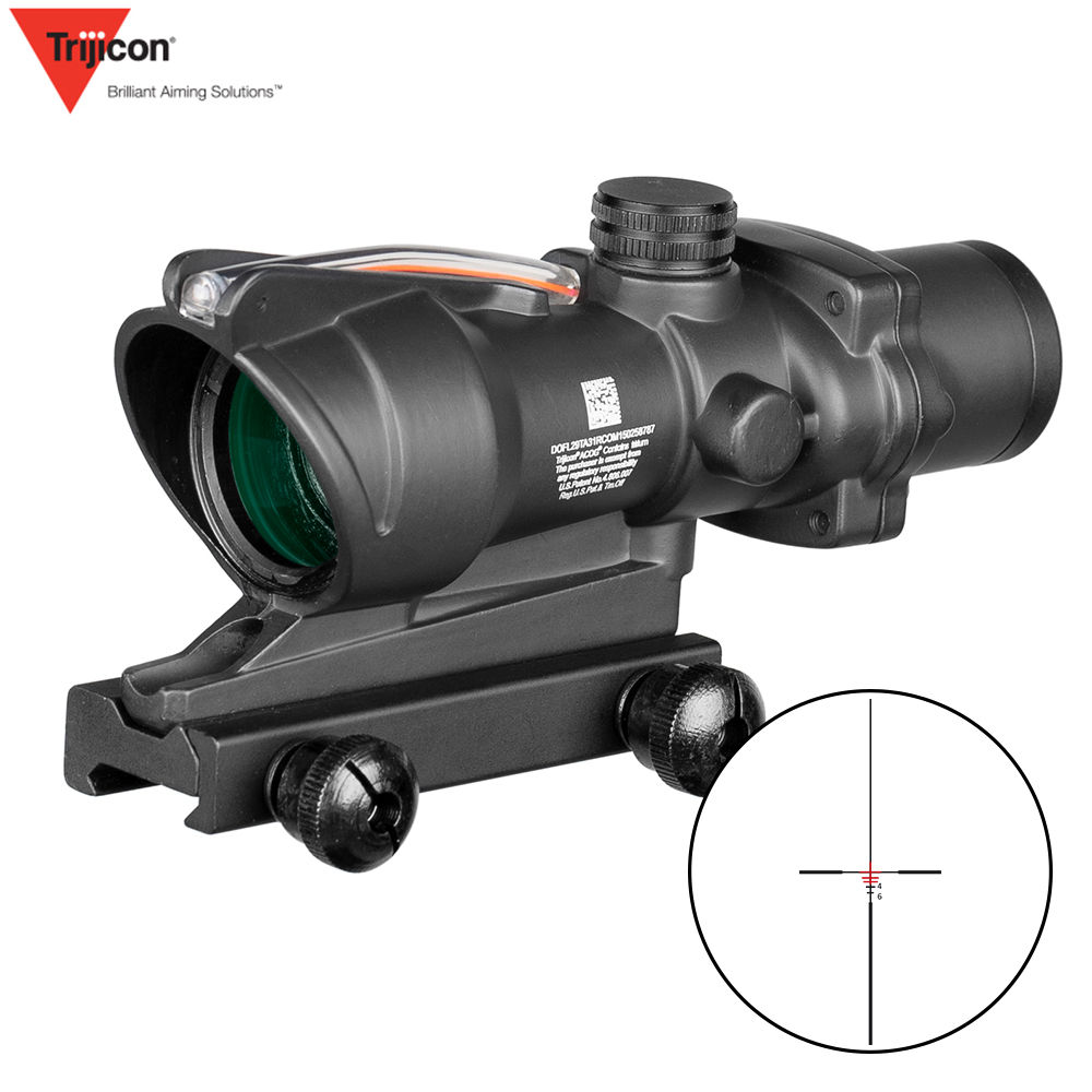 ACOG 4X32 Hunting Riflescope Real Fiber Optics Red Green Illuminated Chevron Glass Etched Reticle Tactical Optical Sight