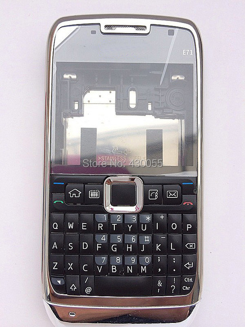Grey NEW ARRIVAL 100% Brand New FULL Housing Case Cover With Logo For Nokia E71 + Buttons + Keypads Free Shipping