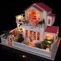 Kit casa de bonecas de madeira em miniatura casa DIY w / música nova casa grande idéia do presente