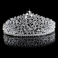Prata luxo Grande Diamante Casamento Pageant Tiara Headband Headpiece Hairwear Coroa De Noiva Para A Noiva Jóia Do Cabelo de Cristal Cheio