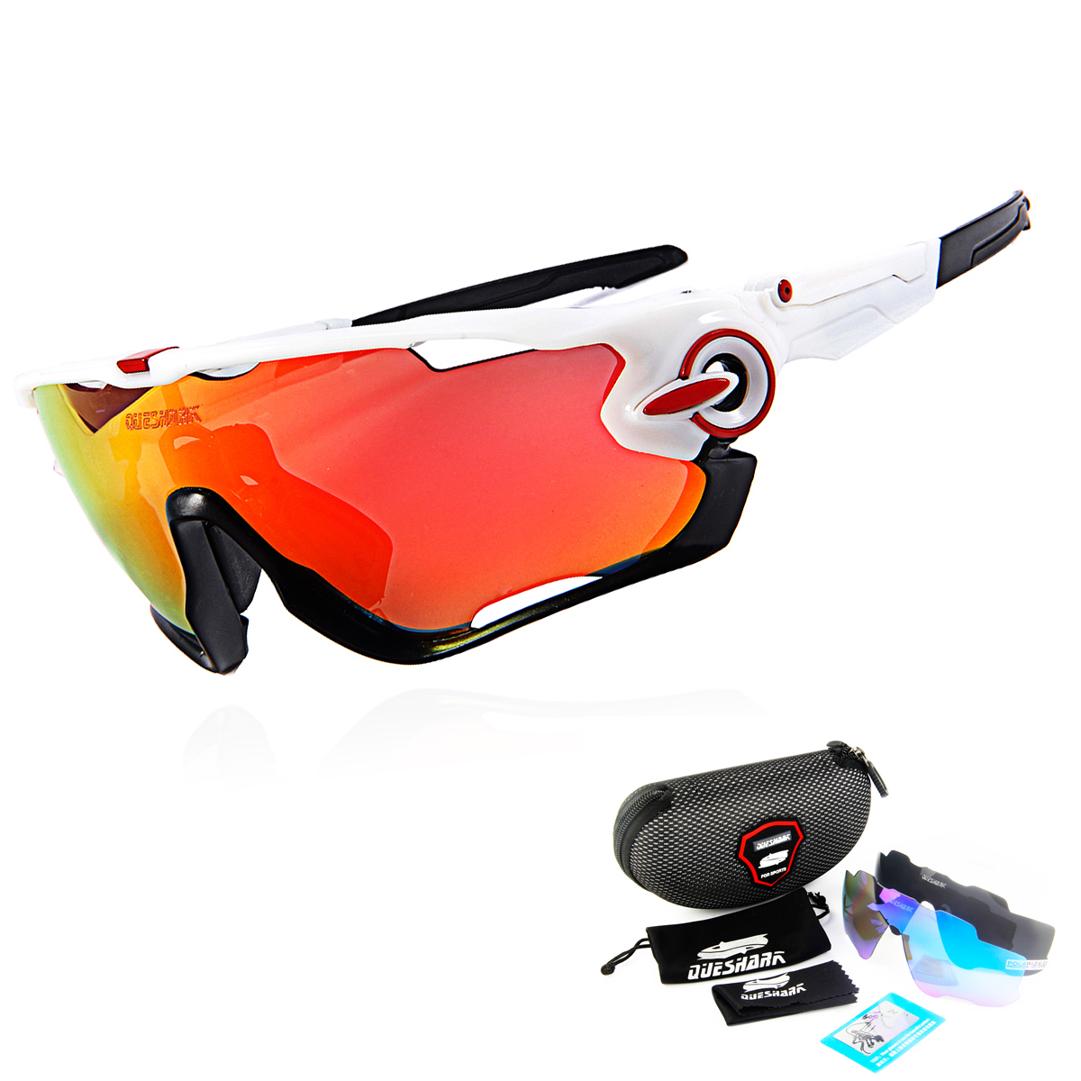 2018 Most Popular Queshark Brand TR90 Frame Polarized Sunglasses For Cycling Eyewear Cycling Glasses Bike Sunglasses MTB