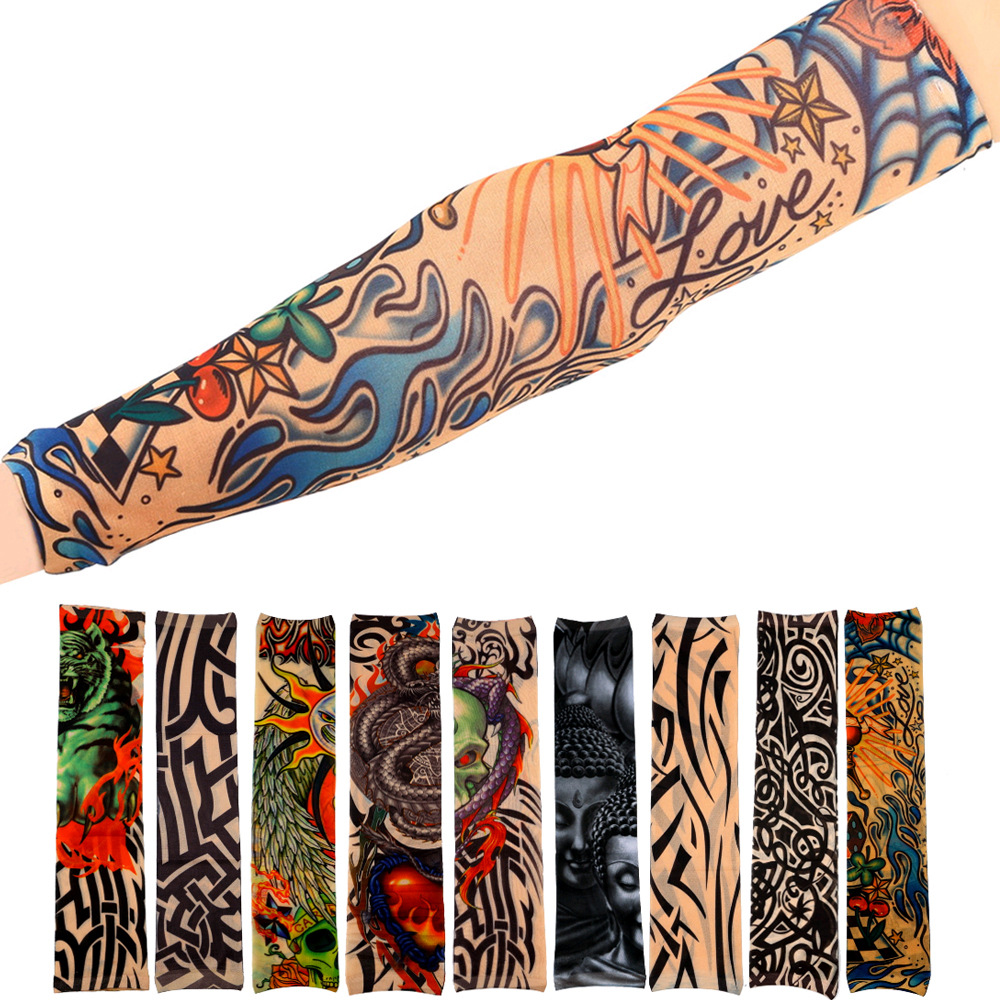 TSAI 1Pc Universal Fake Tattoo Elastic Arm Sleeve Sport Accessory Skins Sun Protective For Cycling Camping Running ...