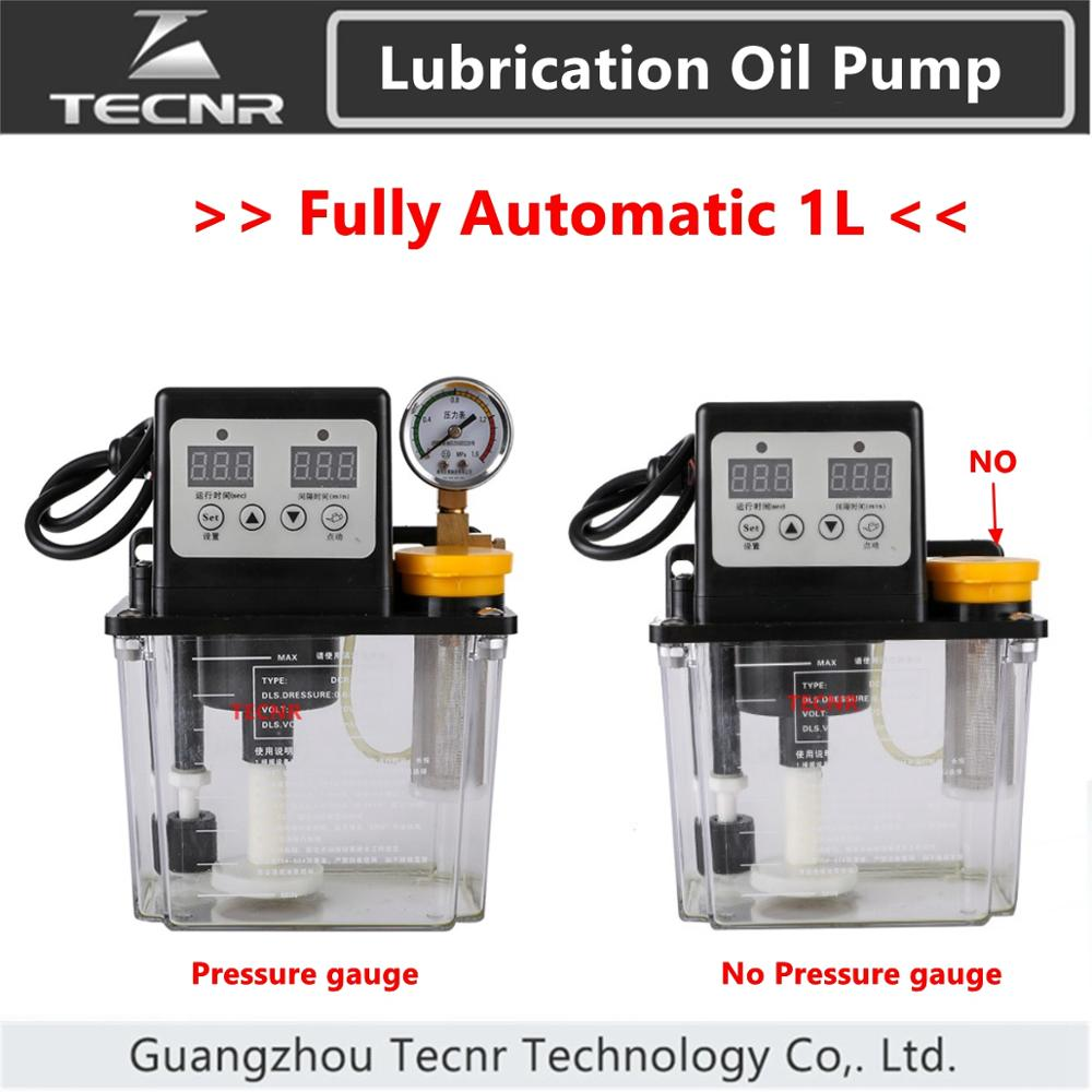 TECNR Fully Automatic Lubricating Oil Pump 1L Liters With Pressure Gauge Cnc Electromagnetic Lubrication Pump 220V