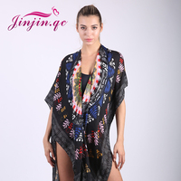 Jinjin QC Womens Tops For Summer Ladies Sleeve Scarf Floral Print Open Front Boho Tassel Casual