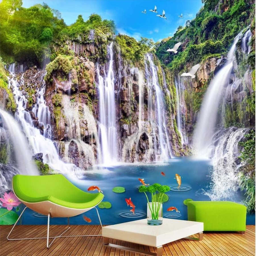 beibehang Custom wallpaper 3d mural landscape waterfall wooden bridge landscape background wall decorative painting 3d wallpaper