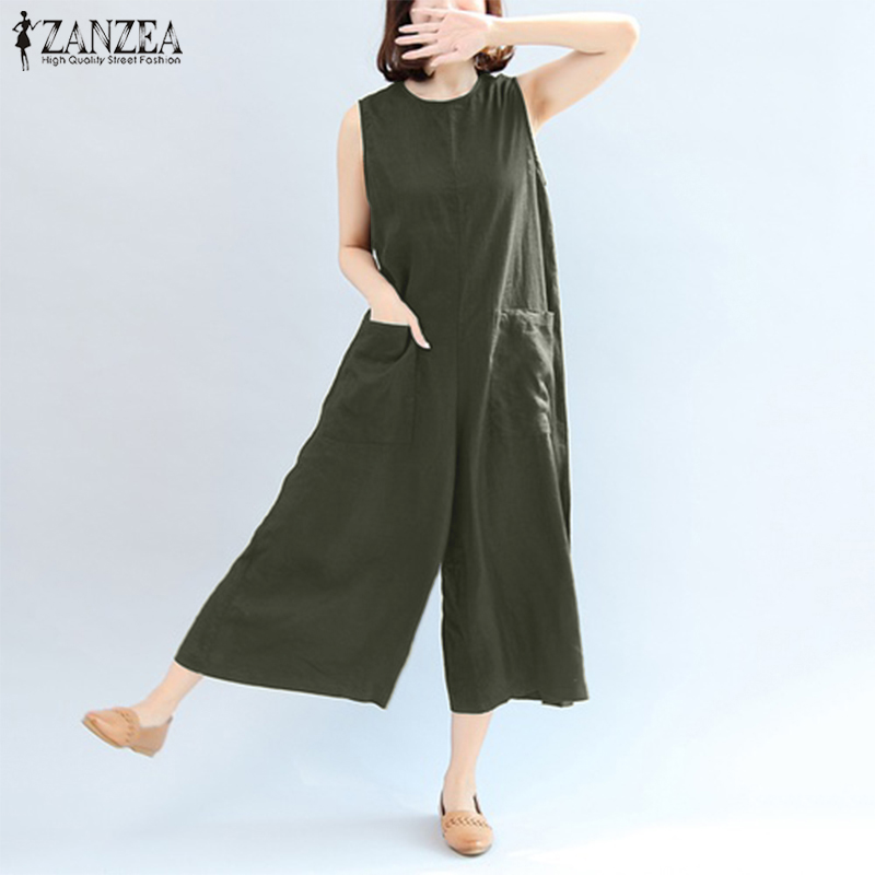 Women Jumpsuits Summer Sleeveless Rompers ZANZEA Sexy Overalls OL Elegant Playsuits Plus Size S-5XLWide Leg Pants Long Bodysuit