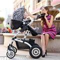 Европейский летний детские коляски высокого пейзаж может сидеть и лежать четыре колеса складной портативный двусторонней