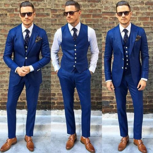 2017 Custom Made Royal Blue Men Suit Double Breasted Casual Slim Men Business Suits Groom prom gown Dress Party 3piece jacket