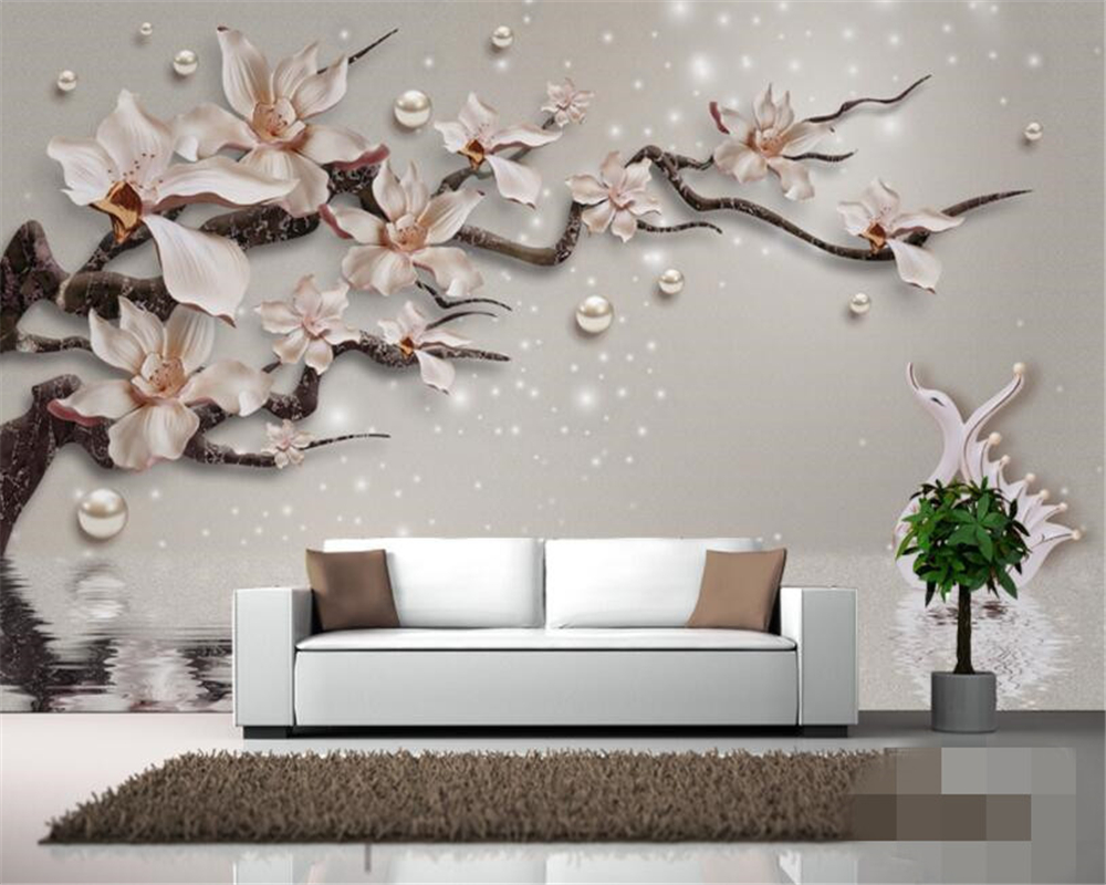 Beibehang Custom Family Room Background Wall 3d Wallpaper high quality Emboss Orchid Jewelry Swan Photo Wallpaper Murals tapeten beibehang custom high level wallpaper 3d