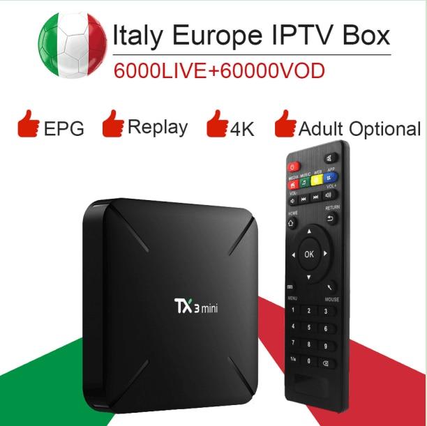 TX3mini Android 7.1 smart TV box&italy super iptv subscription Germany Albania Turkey bein sport netflix ExYu adult iptv dazn