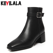 Kiiyilala Square Toe Genuine Leather Chelsea Boots New Autumn Winter Non-slip Ankle For Women Plus Size Shoes Short