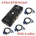 2016 Nuevo Hub de 4 Puertos USB KVM SWITCH Caja Selector Adaptador con 4 unids Cable VGA para PC Teclado Ratón Monitor 1920*1440 Al Por Mayor