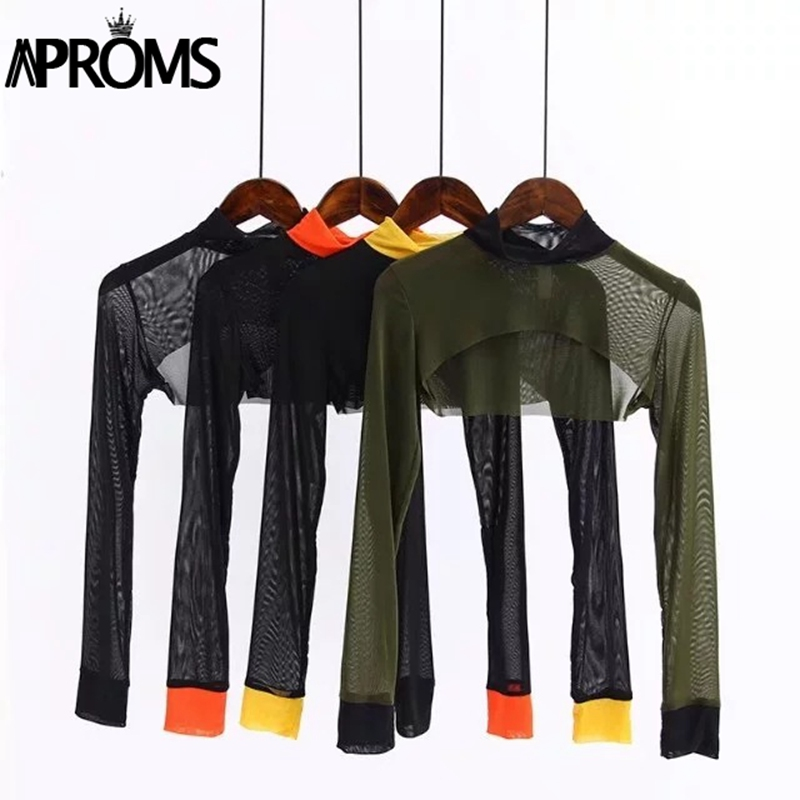 Aproms Yellow Black Blocked Turtleneck Mesh Crop Top Women Summer Top Cool Gilr Short Tshirt Casual Long Sleeve Sheer Tee Female