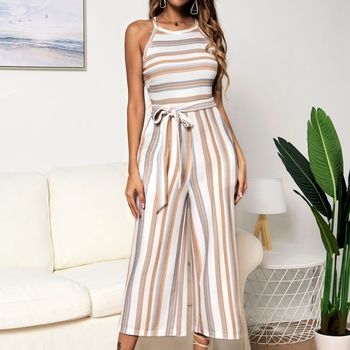 Summer Stripe Jumpsuit Women sleeveless Elegant sexy bandage jumpsuit Wide Long Pants Casual Work Romper Lady Office Overalls