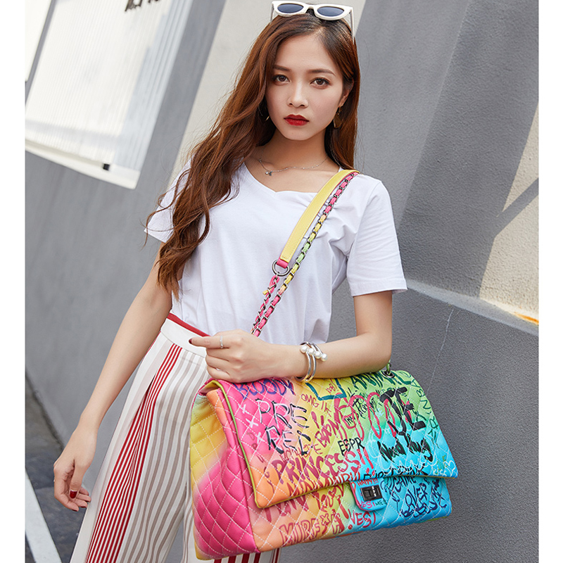 Image 1 - women's bags graffiti messenge bags Super large capacity travel luxury handbags women Famous brand bags designer tote bag 2019-in Top-Handle Bags from Luggage & Bags