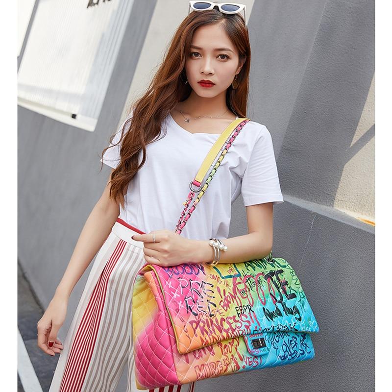 Women's Bags Graffiti Messenge Bags Super Large Capacity Travel Luxury Handbags Women Famous Brand Bags Designer Tote Bag 2019