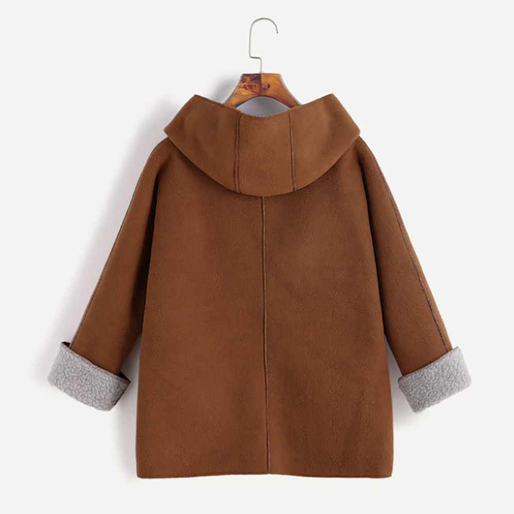 Sleeve Collar Winter Long Casual Color Cashmere Jacket 2018 Simple Button Retro Hooded Warm Khaki Solid Women's New Europe Horn 6Aa1qx