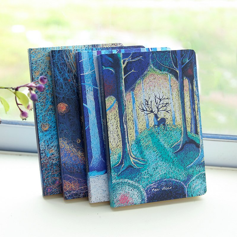 South Korea Hardcover Diary Retro Elk Notebook Creative Gift Stationery Students Take Note Book Blue Brilliant Book