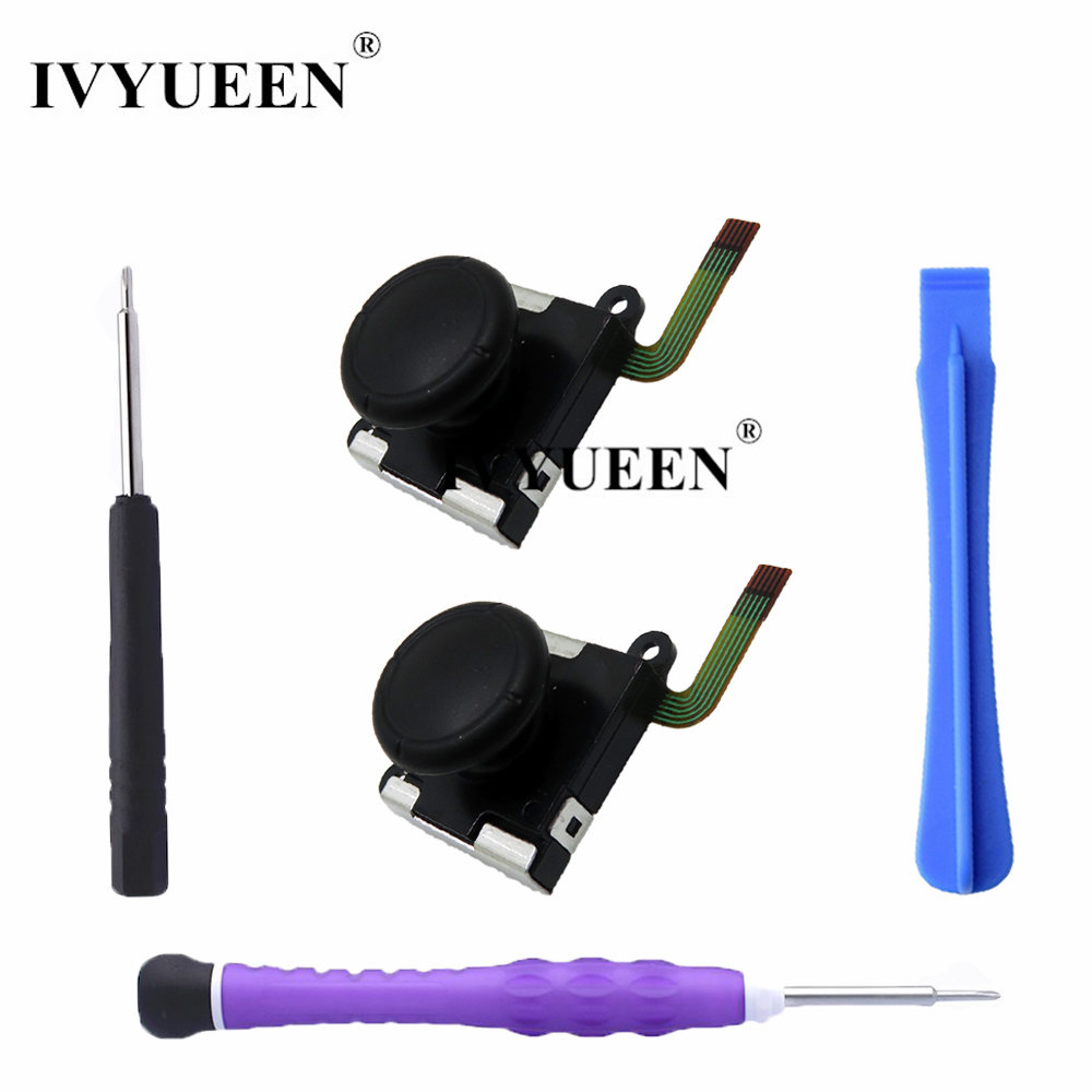 IVYUEEN 2 pcs 3D Analog Joystick Thumb Stick For Nintend Switch JoyCon  Sensor Module Potentiometer Repair Parts with Screwdriver