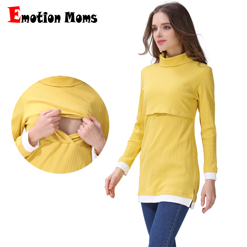 Emotion Moms Turtleneck Maternity clothes nursing Breastfeeding Tops clothes for Pregnant Women Long Sleeve maternity T-shirts все цены