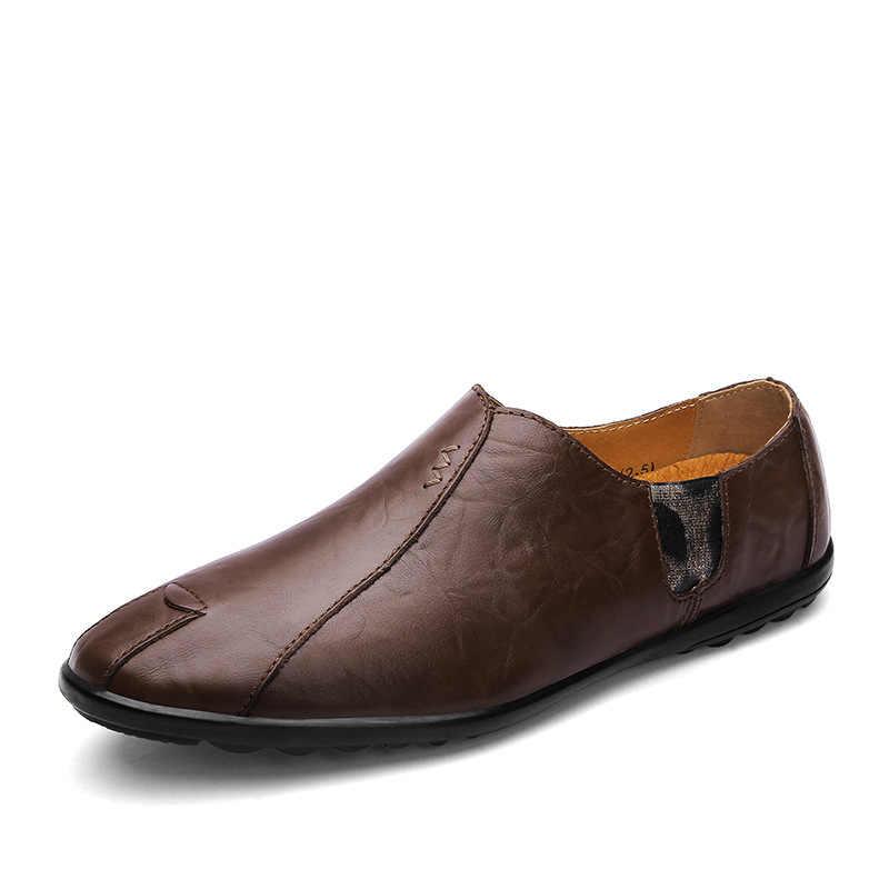 FONIRRA עור מפוצל גברים נעליים יומיומיות יוקרה מותג 2019 Mens ופרס מוקסינים לנשימה להחליק על סירה שחור נהיגה נעליים 594