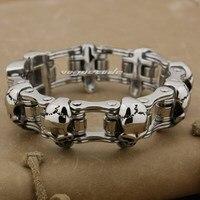 8.7 Solid 316L Stainless Steel Skulls Mens Biker Rocker Bracelet 5F006