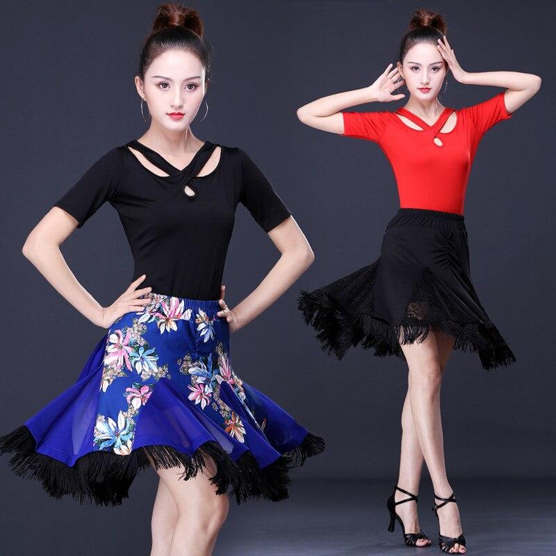 Brand Quality New Sexy Latin Dance Skirts Women Black Lace Skirt Irregular Fish Tail Skirt Long Ballroom Dance Dress
