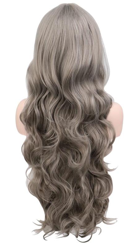 Yazlong peruca ondulada cosplay, preta roxa branca